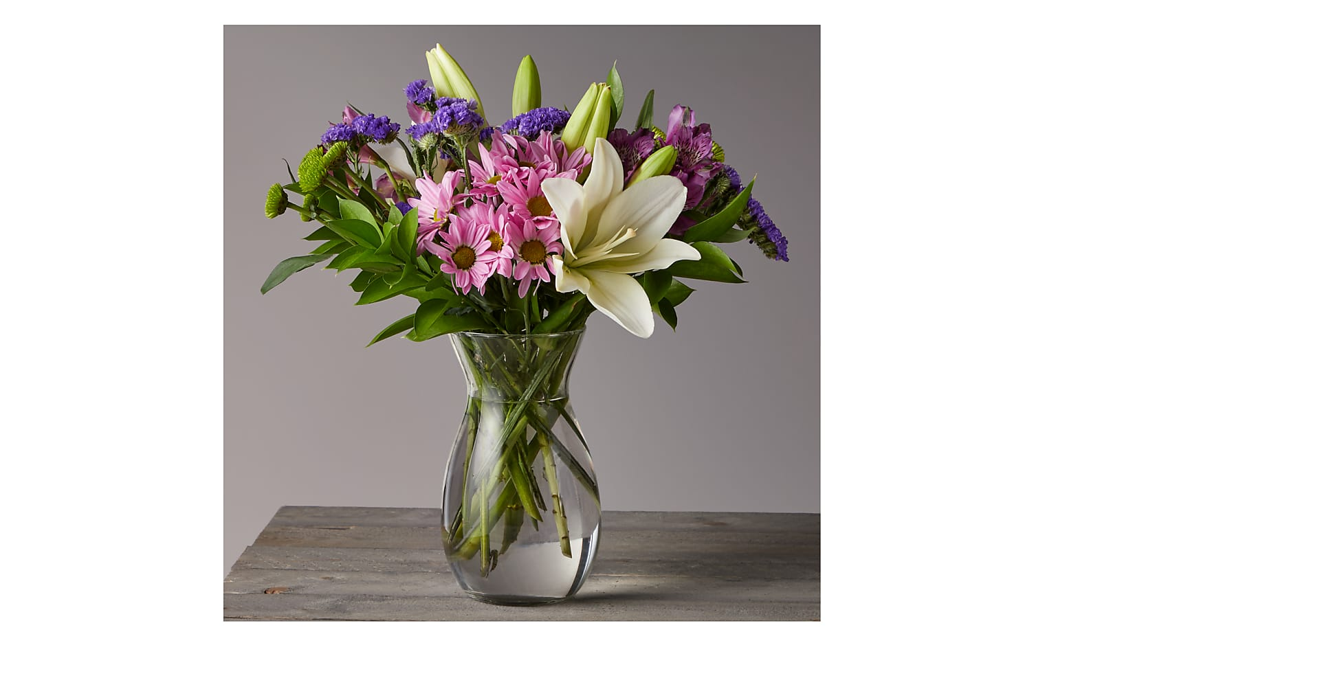 Lavender Fields Mixed Flower Bouquet with Vase - Image 1 Of 5