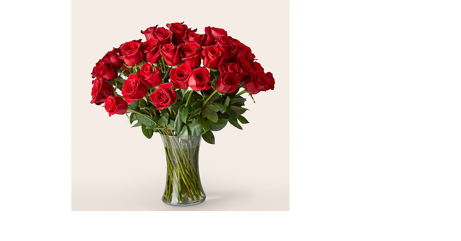 Fifty Long Stem Red Roses with Vase - Image 1 Of 3