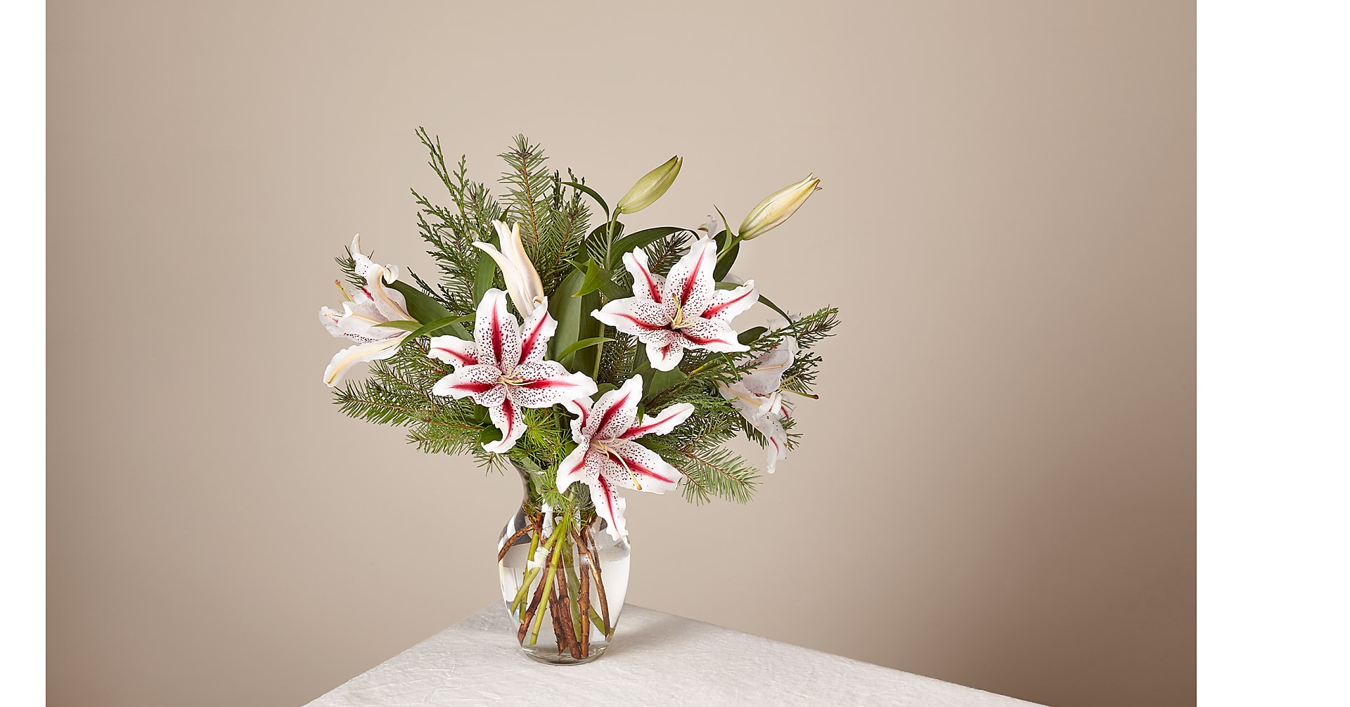 Deluxe Candy Cane Lilies Bouquet