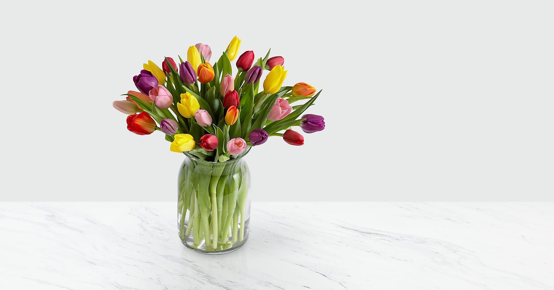 Rush of Color Assorted Tulip Bouquet - 30 Stems - VASE INCLUDED - Image 1 Of 5