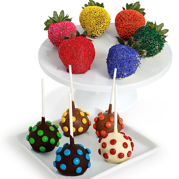 Rainbow Chocolate Covered Strawberries and Cake Pops