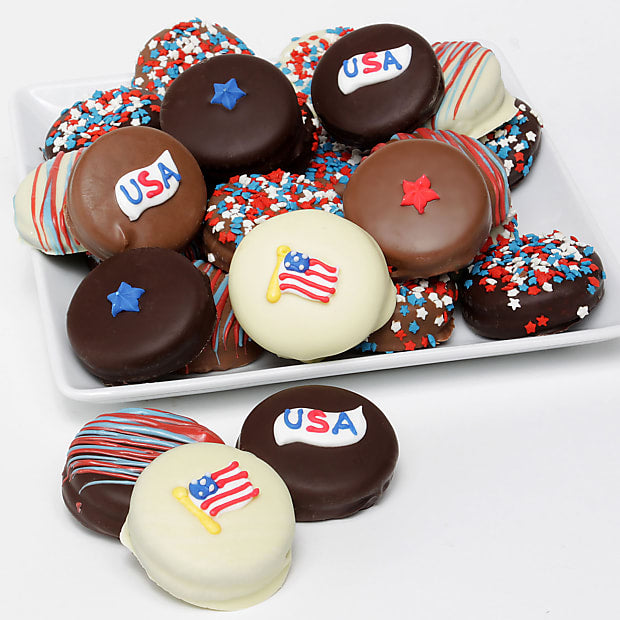 Patriotic Belgian Chocolate Covered Sandwich Cookies