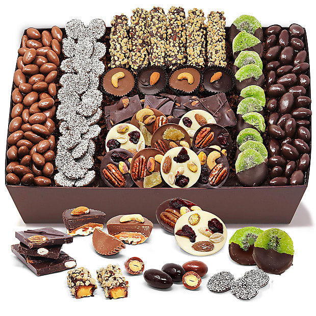 Premium Belgian Chocolate Covered Caramel, Nut, and Fruit Tray