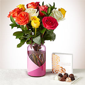One Dozen Mixed Rose Bouquet and Chocolates Gift Set