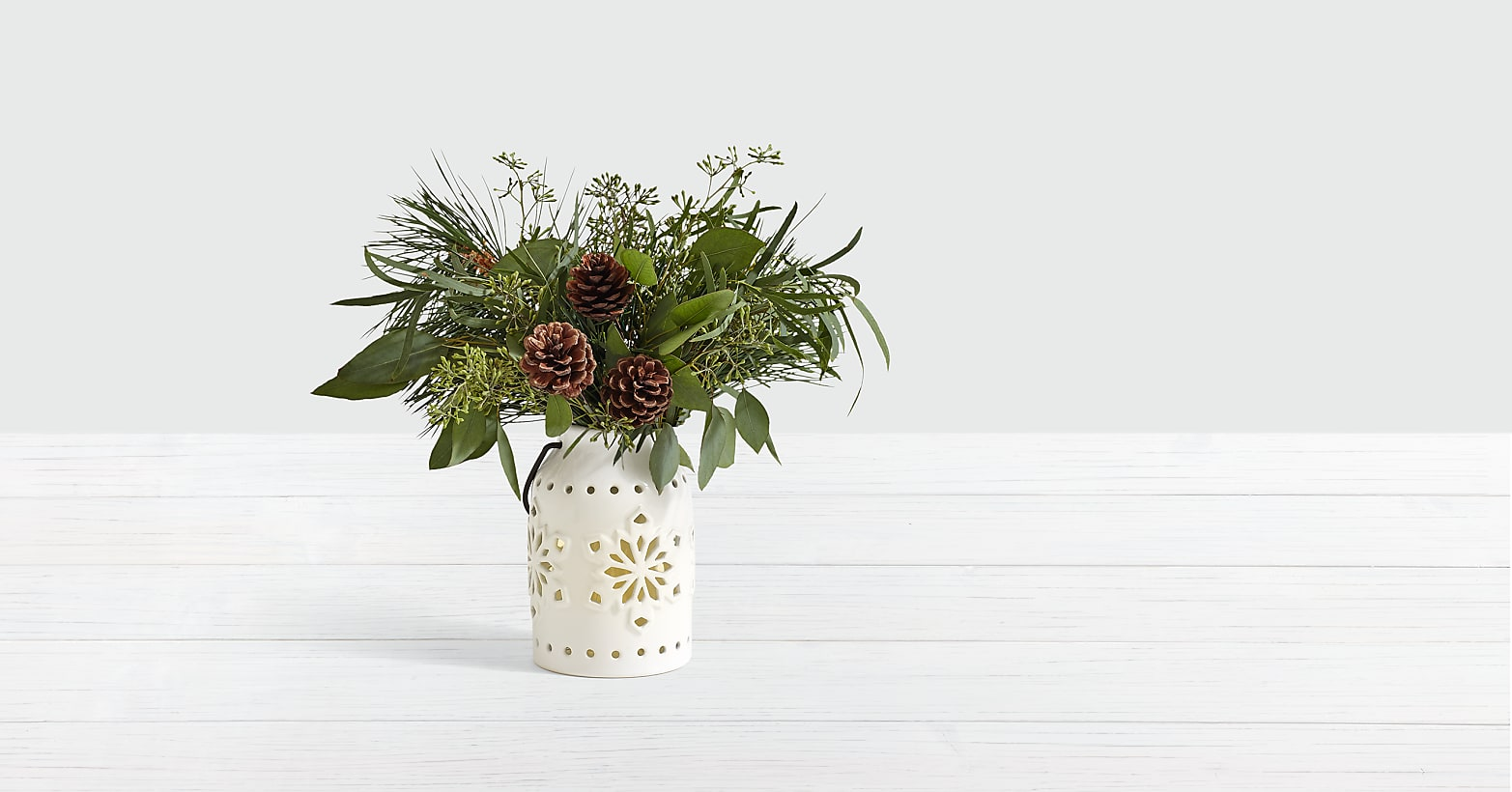 Wintry Pine And Eucalyptus Centerpiece with Lights
