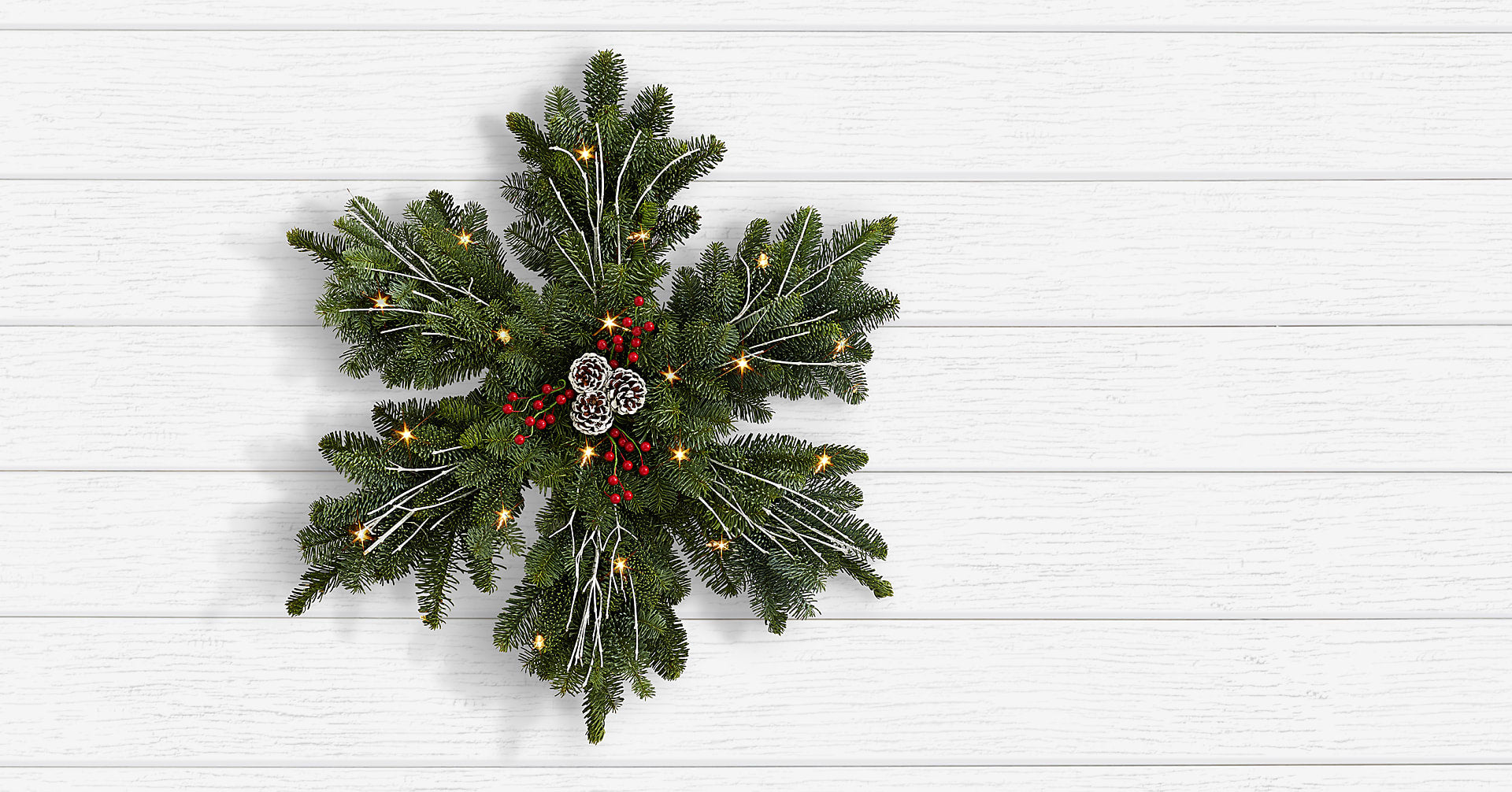 Frosted Fir Wreath with Lights - Image 1 Of 2