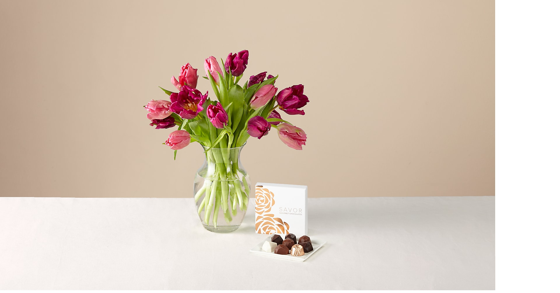Specialty Tulip Mixed Bouquet with Glass Vase & Box of Chocolates