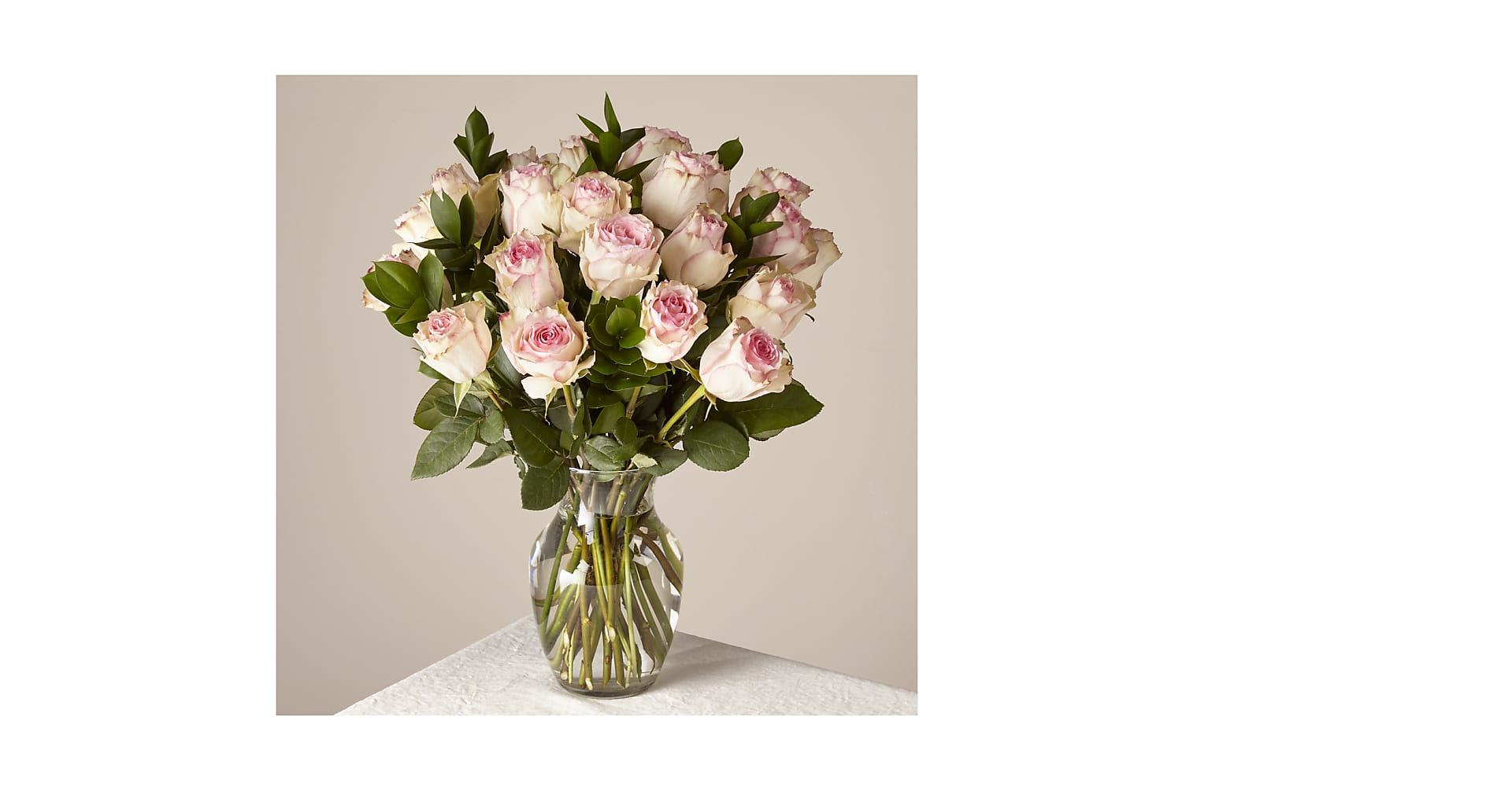 Pink Champagne Rose Bouquet 24 Stem With Vase - Image 1 Of 3