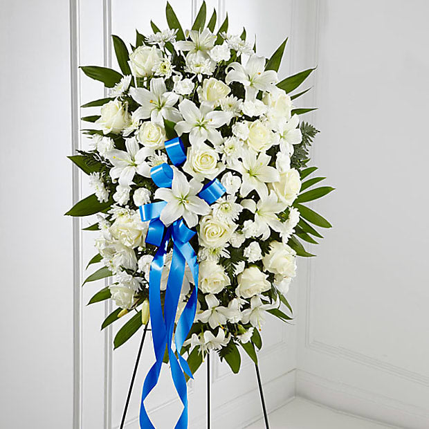 Exquisite Tribute Standing Spray-Blue Ribbon