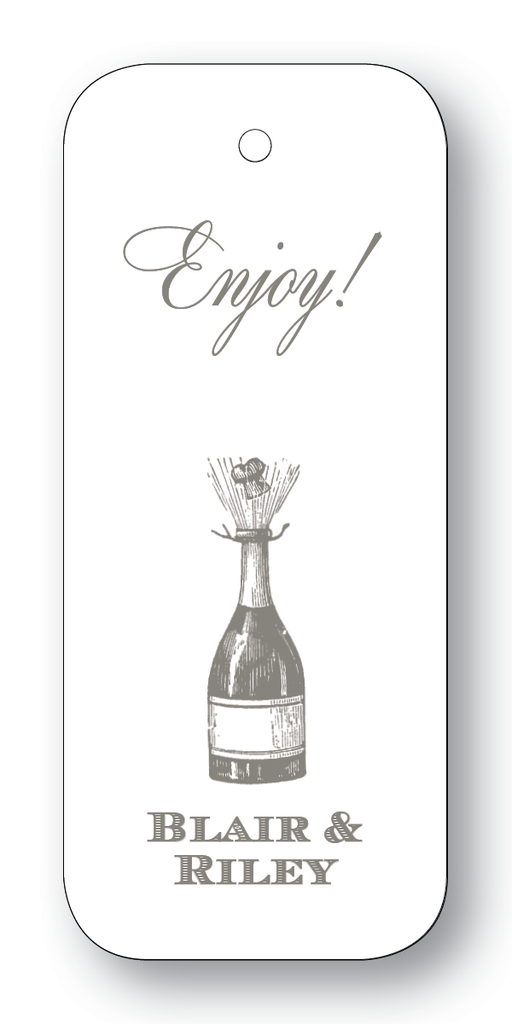 Champagne Bottle; Cheers or Enjoy - Charcoal (Customizable)