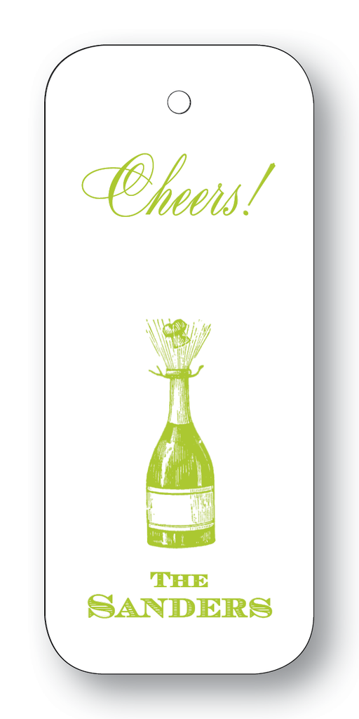 Champagne Bottle; Cheers or Enjoy - Chartreuse (Customizable)