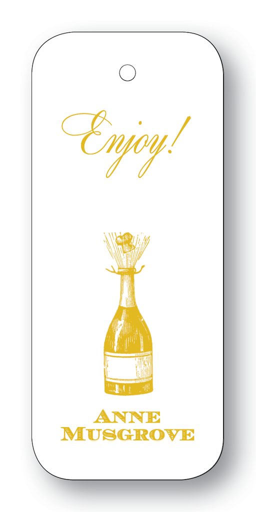 Champagne Bottle; Cheers or Enjoy - Gold (Customizable)