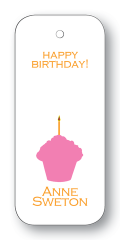 Cupcake Silhouette Pink & Orange (Customizable)