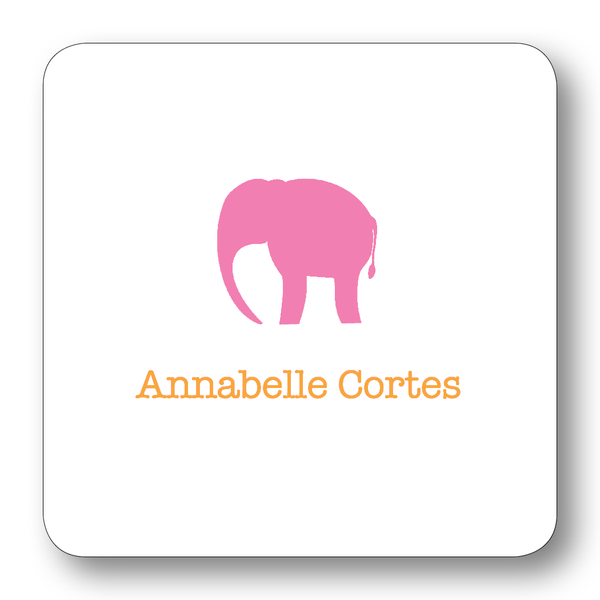 Elephant Silhouette - Azalea & Orange (Customizable)