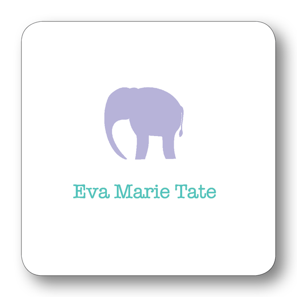 Elephant Silhouette - Lavender & Peridot (Customizable)