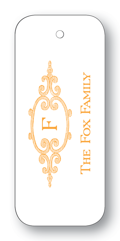 Filigree Frame with Single Initial - Orange (Customizable)