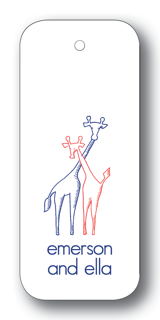 Giraffe Pair - Navy & Scarlet (Customizable)