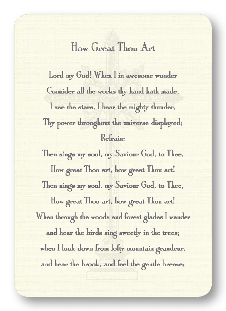How Great Thou Art Hymn (Package of 8)