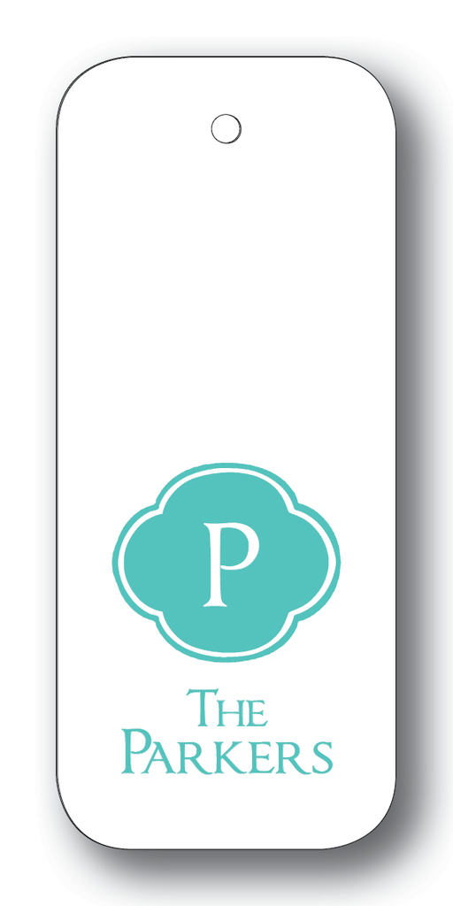 Scalloped Frame with Initial - Aqua (Customizable)