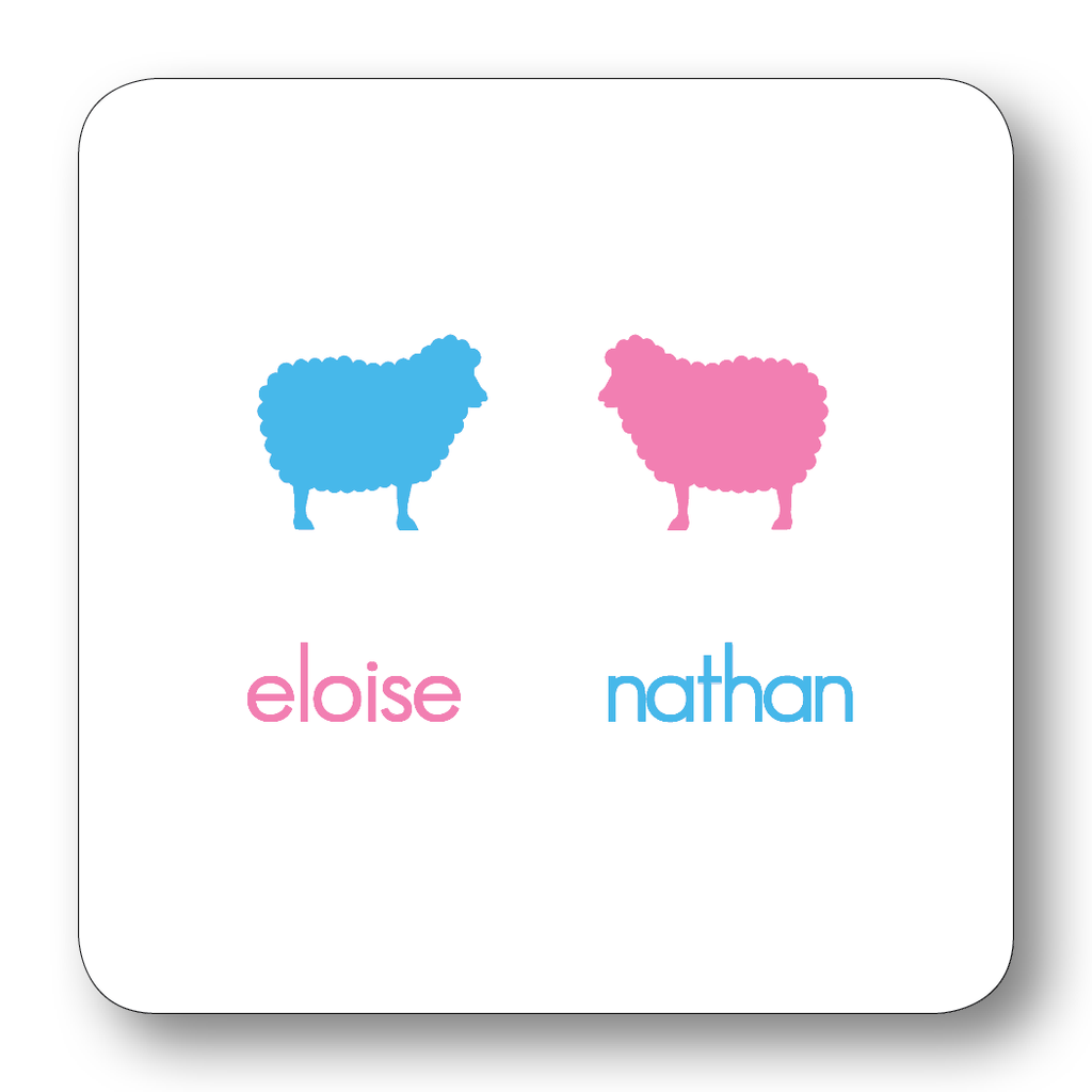 Sheep Pair Silhouette - Azalea & Turquoise (Customizable)