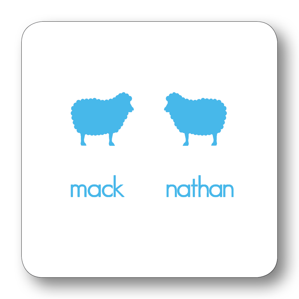 Sheep Pair Silhouette - Turquoise (Customizable)