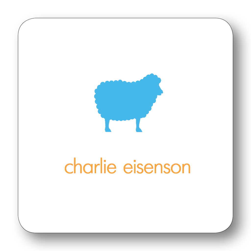 Sheep Silhouette - Turquoise & Orange (Customizable)