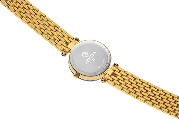 Gold / Blue Facet Strass Swiss Ladies Watch J5.632.S