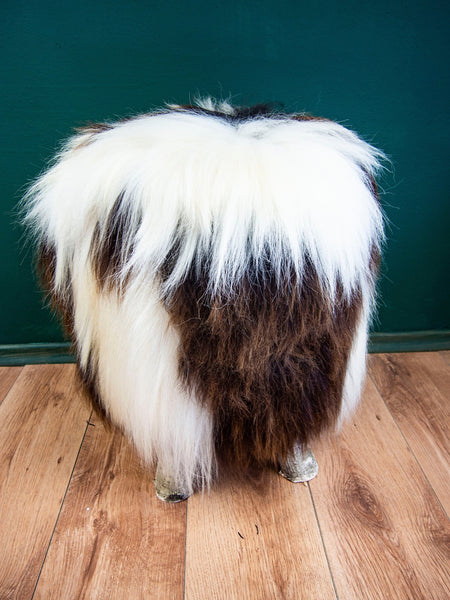 Birch Wood and real Jacob sheepskin Ottoman