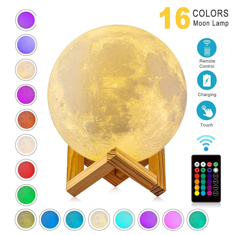 USB Rechargeable 3D Print Moon Night Lamp