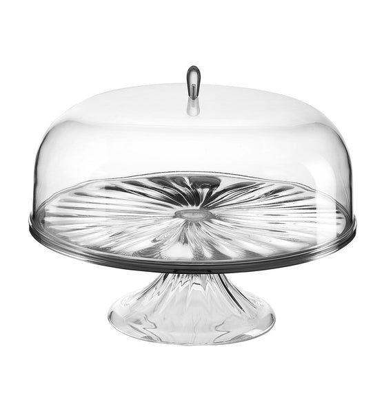 L Cake Stand With Dome Look