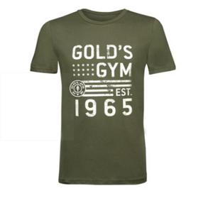Gold's Gym Unisex Olive Green Short-Sleeve Cotton T-Shirt - Front Facing Image