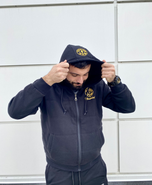 Gold's Gym Classic Black Full Zip Hoodie - Front Facing Image