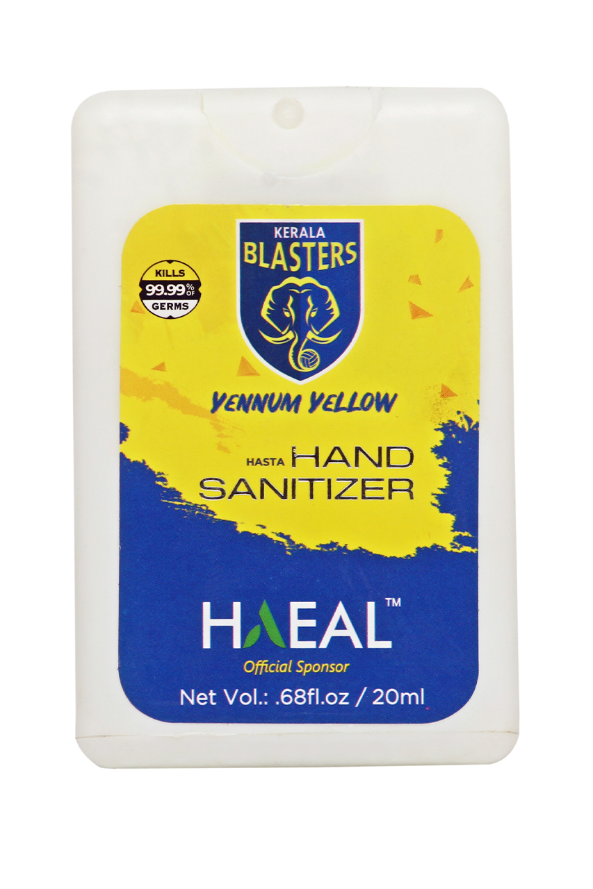 Hasta Pocket Hand Sanitizer - Kerala Blaster Yennum Yellow Edition - 20ml