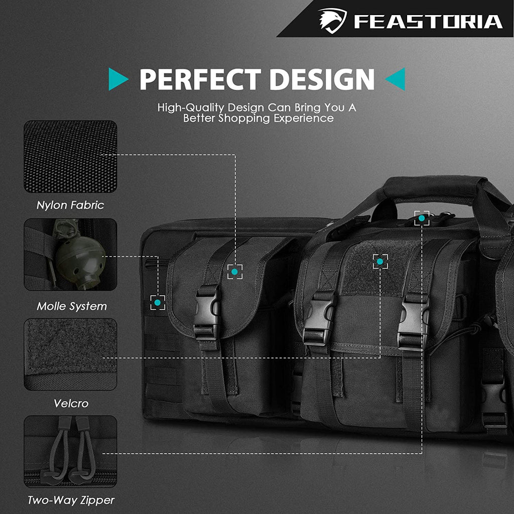 Feastoria Double Long Soft Rifle Case, American Classic Durable Tactical Carbine Rifle Bag & Multi-Function Gun Bag, Perfect for Rifle and Pistol Storage or Transportation,Available Length in 36'' 42""