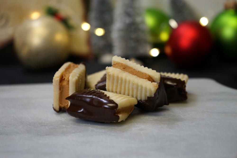 Coffee wafer Christmas cookies dipped in chocolate.