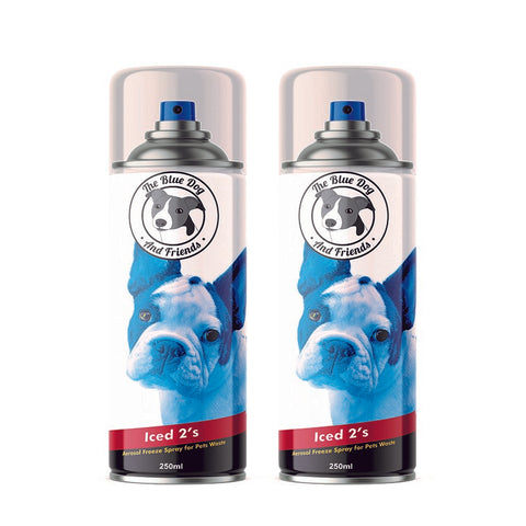 Iced 2's - The Blue Dog & Friends - Freezer Spray - Cooling Spray to aid picking up poo