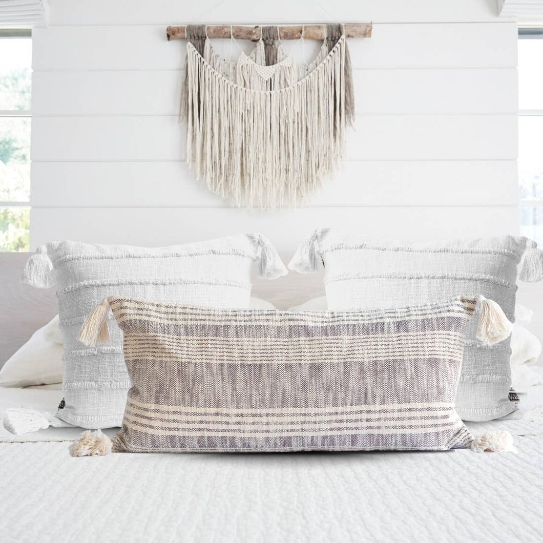 Striped Charcoal and Cream Cotton Tassel Pillow-Maison Collective