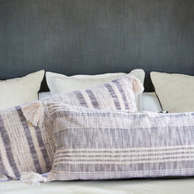 Load image into Gallery viewer, Striped Charcoal and Cream Cotton Tassel Pillow-Maison Collective