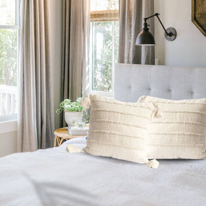 Wide Cream Stripes Cotton Pillow with Tassels-Maison Collective