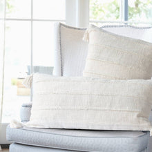 Load image into Gallery viewer, Wide Cream Stripes Cotton Pillow with Tassels-Maison Collective