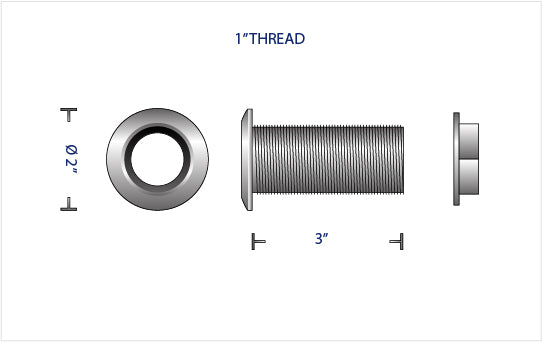 "TITANIUM 1.00"" THRU-HULL FITTING WITH Ti FLANGED NUT"