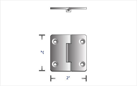 "TITANIUM FLUSH MOUNTED 100° WELDED HINGE (2.00"" x 2.00"")"