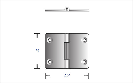 "TITANIUM TOP MOUNTED 180° WELDED HINGE (2.50"" x 2.00"")"