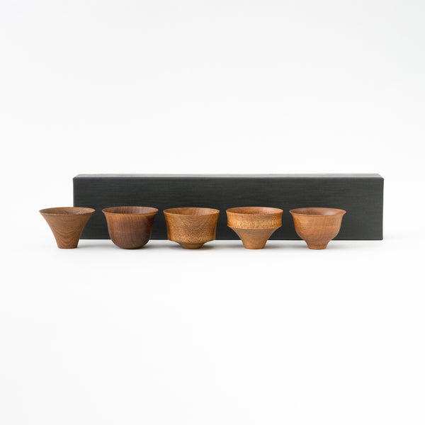 Tohka Sake cup 5 pieces set (Brown)