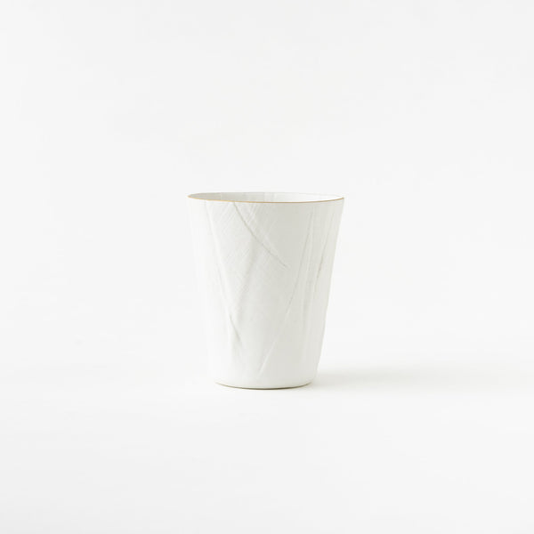 Ceramic Mimic Fabric / Tumbler (Gold Rim)