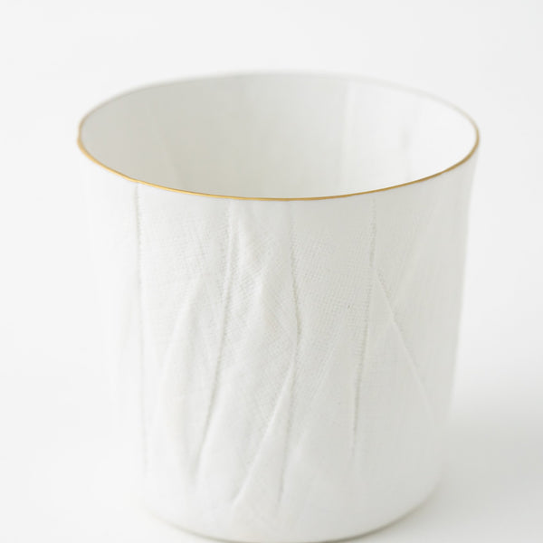 Ceramic Mimic Fabric / Rock Glass (Gold Rim)