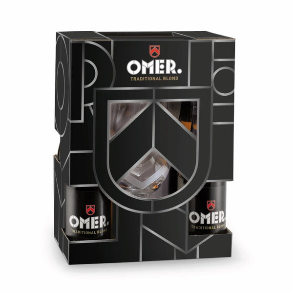 Emballage cadeau OMER. 4x33cl + verre