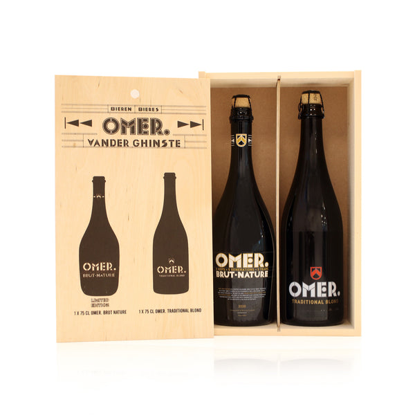 Online Exclusive - Houten kistje OMER. Traditional Blond 75cl + OMER. Brut Nature 75cl (Limited Edition)