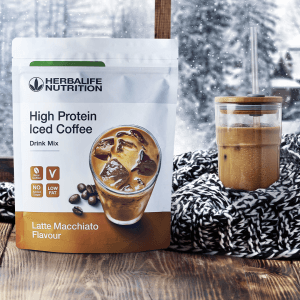 High Protein Iced Coffee Latte Macchiato Flavour