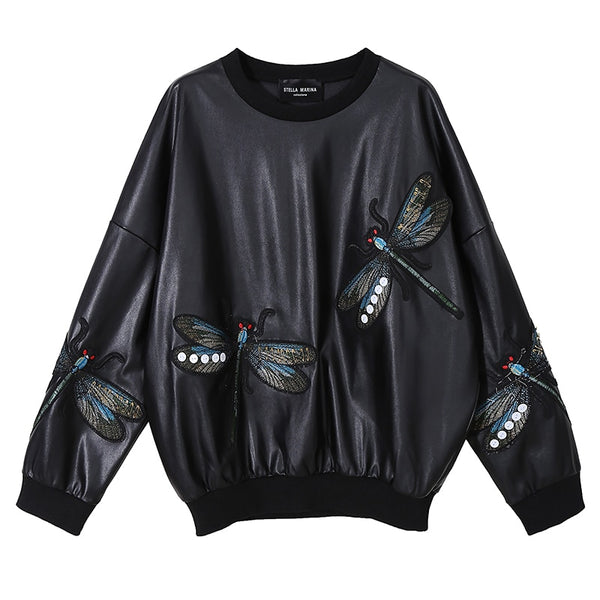 New Woman 2021 Winter Black Faux Leather Top Pullover Sweatshirt PU Dragonflies Embroidery Ladies Oversize Streetwear